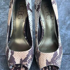 BCBG snakeskin peep toe heels